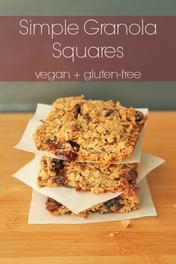 Vegan, gluten free, and quick to make, these delicious and simple granola squares can be customized to suit what you and your kids prefer.