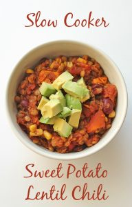 Slow Cooker Lentil Sweet Potato Chili Pinterest Pic