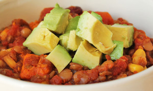Slow Cooker Lentil Sweet Potato Chili close up shot.