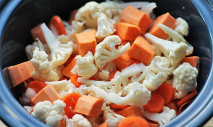 The vegetables that went into making this Cauliflower Sweet Potato Carrot soup recipe.