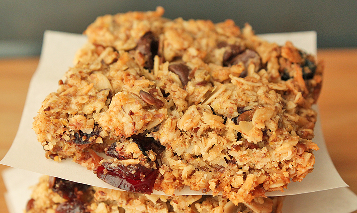 Up close shot of simple-to-make Granola Squares.