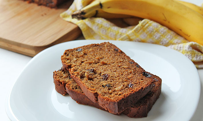Take a break from plain old banana bread and shake things up with this quick and easy vegan gluten free coconut raisin banana bread!