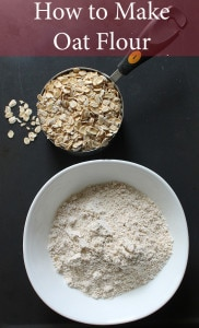 Overhead shot of oat flour in a bowl
