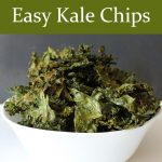 Searching for a recipe for healthy, easy kale chips? Search no more, this is it! Plus, learn the trick to retaining the nutrition in your baked kale chips.