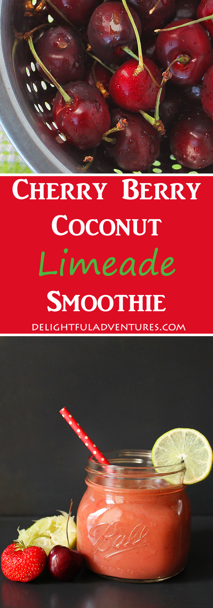 Craving a refreshing, sweet, but tart drink to cool you down on a hot summer's day? This Cherry Berry Coconut Limeade Smoothie will do the trick!