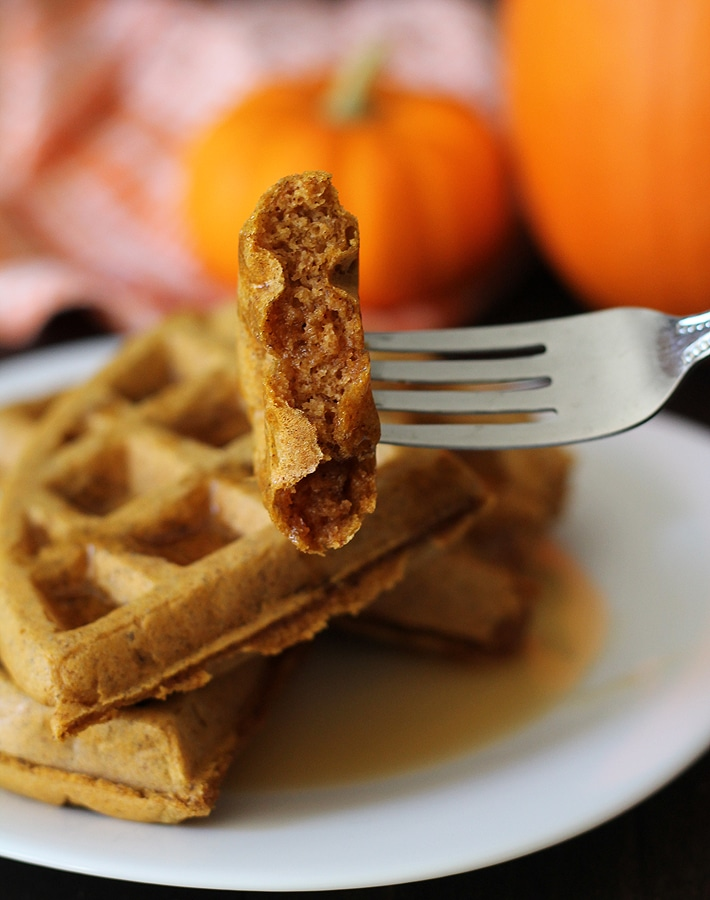 Inside shot of Vegan Gluten Free Pumpkin Spice Waffles to show the fluffy interior.