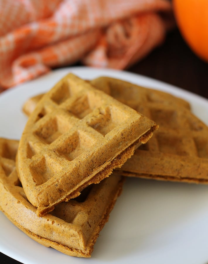 These Vegan Gluten Free Pumpkin Spice Waffles are crispy on the outside and soft and fluffy on the inside - just the way waffles should be.