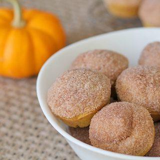 Close up shot of Mini Vegan Gluten-Free Pumpkin Muffins.