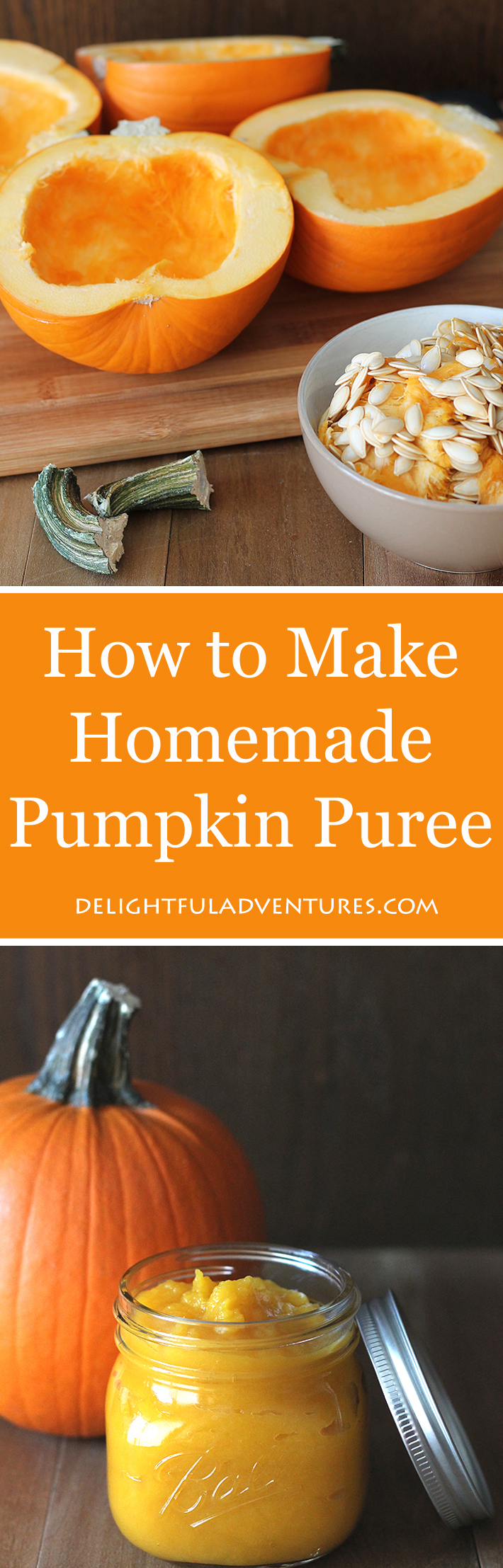 Get rid of the canned stuff and learn how to make homemade pumpkin puree! It's easy and your result will be fresh and ready for all your pumpkin recipes.