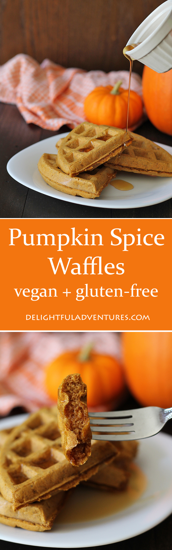 Satisfy your craving for pumpkin spice with these vegan gluten free pumpkin spice waffles at breakfast. Crispy on the outside, soft and fluffy inside!