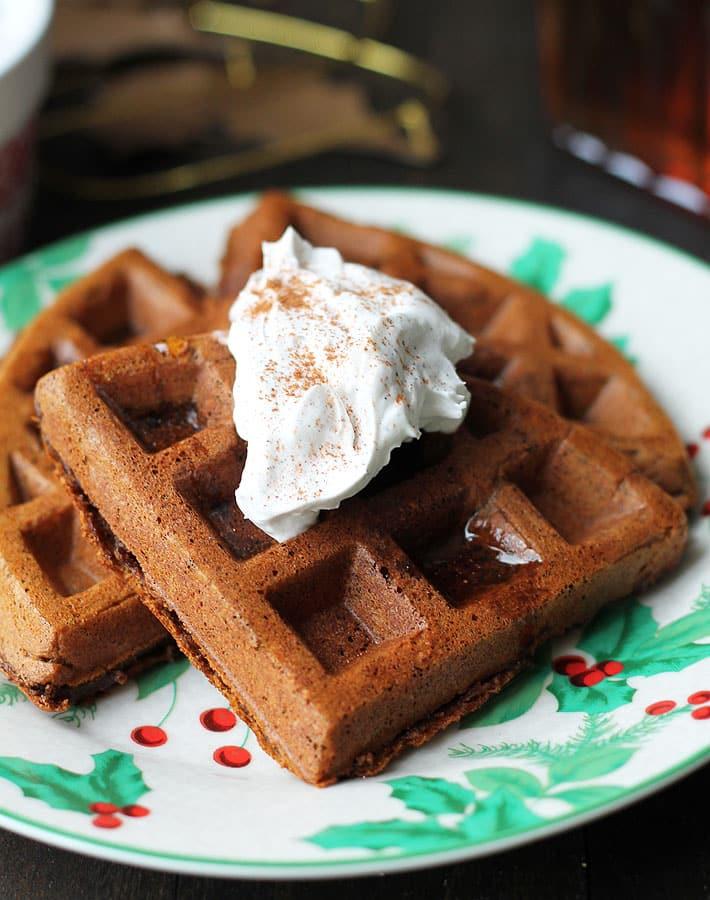 Vegan Gluten Free Gingerbread Waffles