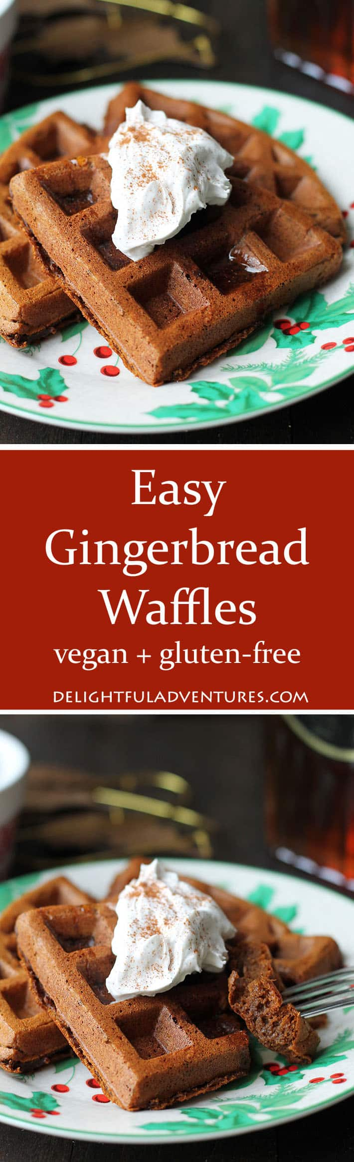 This recipe for easy vegan gluten free gingerbread waffles are a great breakfast idea for Christmas morning (or any other morning during the holidays!). #veganglutenfree #gingerbreadwaffles #veganwaffles #glutenfreewaffles #veganbreakfast