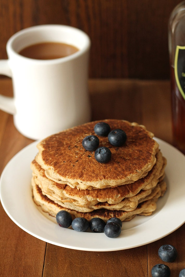 Your search for easy vegan gluten free pancakes has ended! These pancakes are delicious, fluffy and will become your new perfect go-to pancake recipe! #veganpancakes #glutenfreepancakes #veganglutenfreepancakes #veganglutenfree