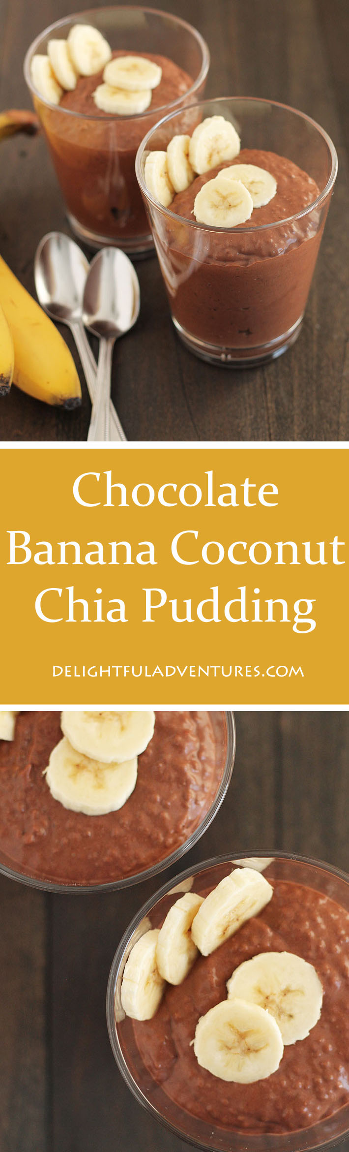 Whip up this delicious vegan & gluten free Chocolate Banana Coconut Chia Pudding in the evening and it will be ready for breakfast or snacks the next day. #chiapudding #veganglutenfree #glutenfreevegan #veganbreakfast #vegansnacks