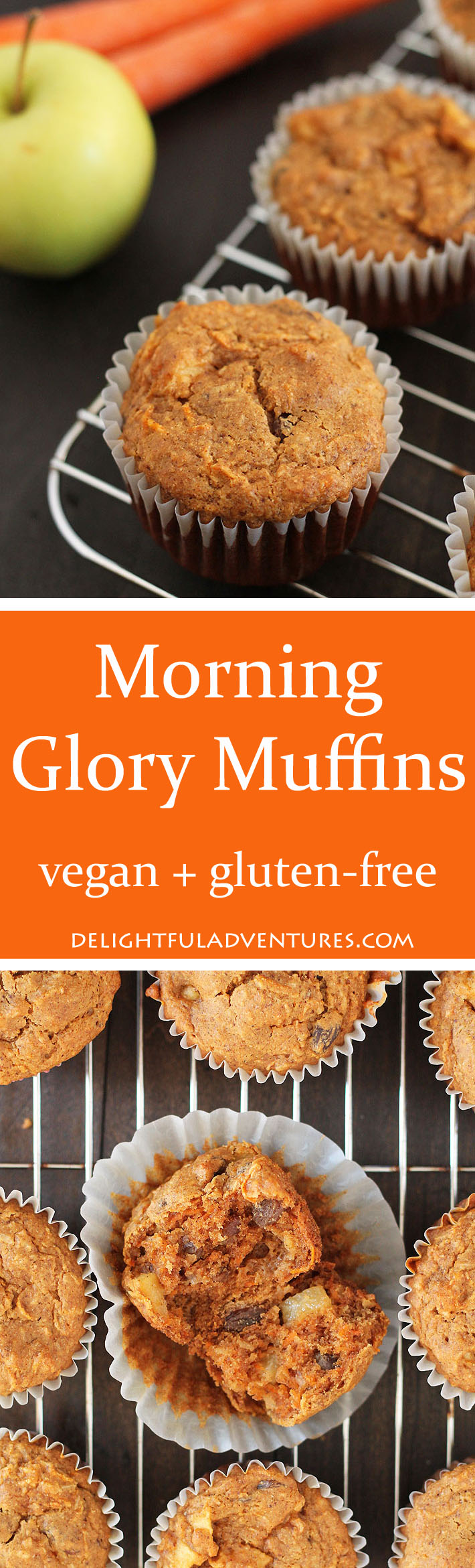 Healthy Vegan Gluten Free Morning Glory Muffins loaded with carrots, coconut, raisins, and apples. Perfect to have for breakfast or a snack.