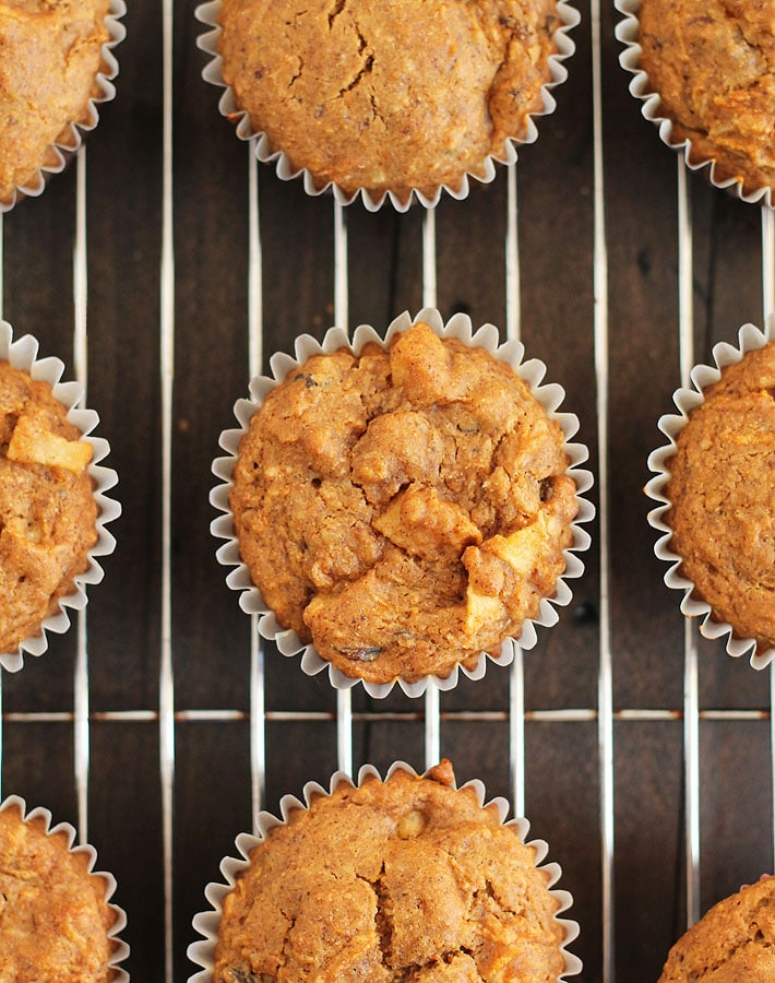 Overhead shot of Vegan Gluten Free Morning Glory Muffins on a cooling rack.
