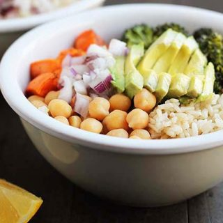 If you're looking for a nutritious meal idea, these vegan Sweet Potato Broccoli Chickpea Bowls come together quickly and taste delicious.