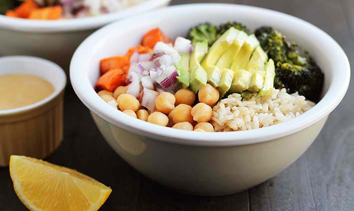 Sweet Potato Broccoli Chickpea Bowls are packed with nutritious ingredients and are the perfect idea for supper or lunches.