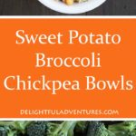 Throw together some nutritious ingredients and what you get are these easy, vegan Sweet Potato Broccoli Chickpea Bowls. Great for lunch or supper!