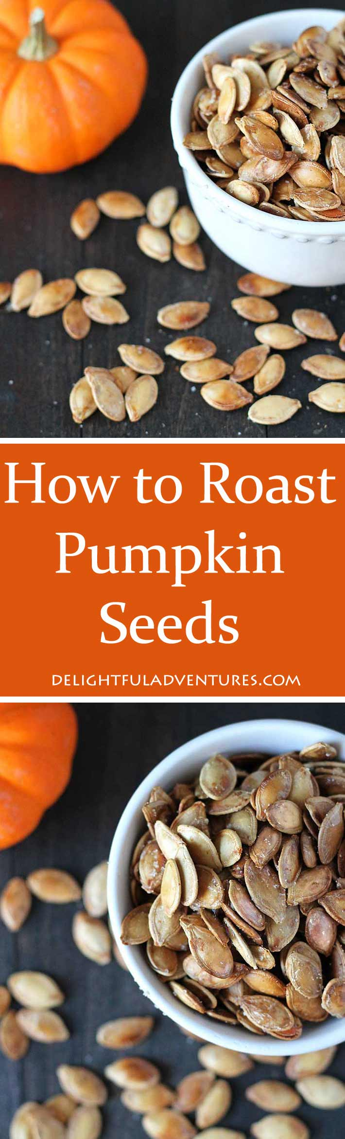 Don't throw those pumpkin seeds away! Follow this step-by-step on How to Roast Pumpkin Seeds and see just how easy it is to do. You'll never throw them out again! #pumpkinseeds #roastedpumpkinseeds #vegansnacks