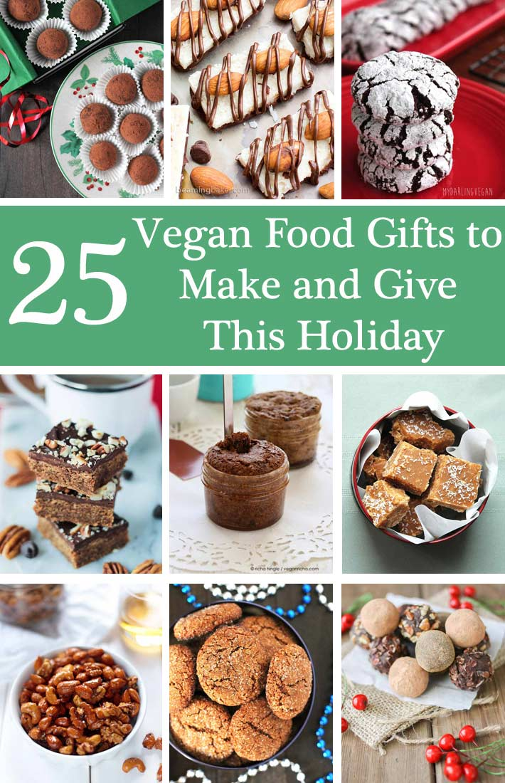 Giving food gifts to family and friends is one of the most thoughtful ways to show you care. Here are 25 homemade vegan food gifts to make and give this holiday. #veganchristmas #veganholidays #vegangifts #veganfood
