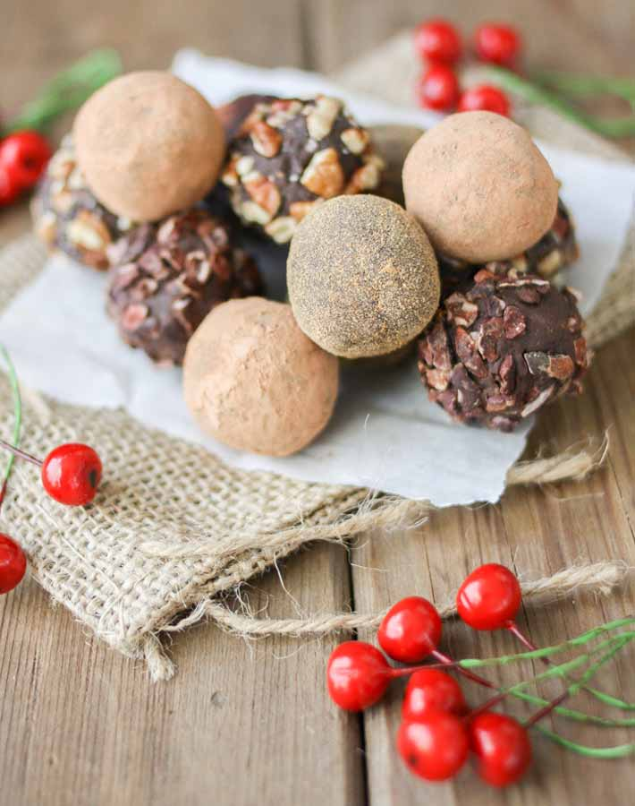 Picture of cranberry dark chocolate truffles (vegan food gifts)