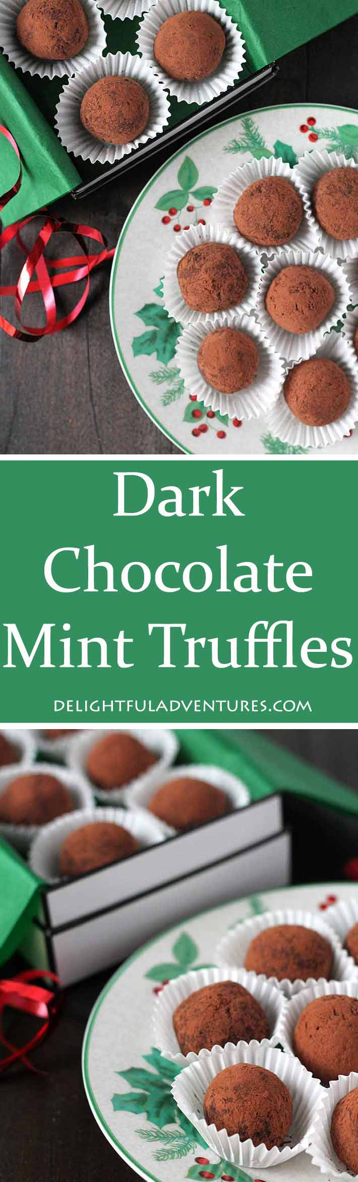 Melt in your mouth, easy to make, four-ingredient vegan Dark Chocolate Mint Truffles that are perfect for homemade holiday gift-giving or for entertaining. #chocolatemint #vegantruffles #chocolateminttruffles #chocolatetruffles