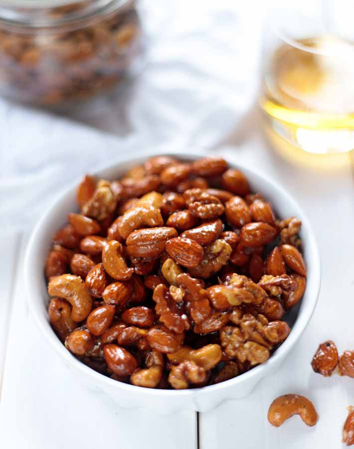 Picture of whiskey and maple roasted nuts (vegan food gifts)