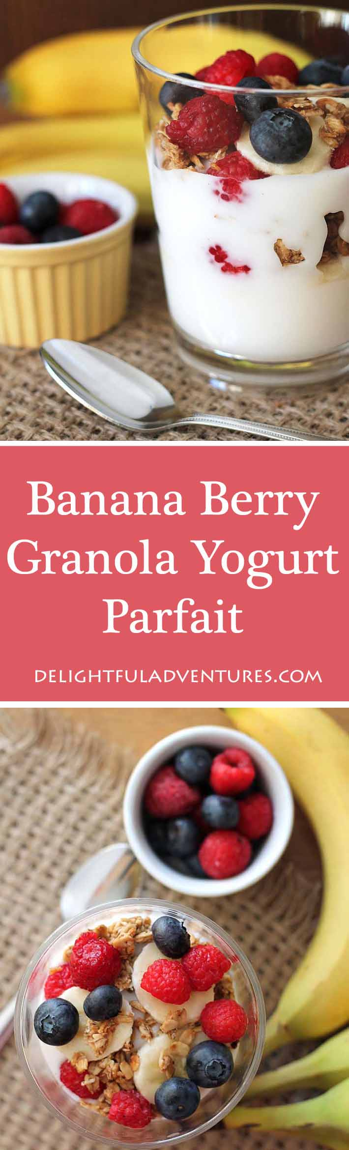 A Banana Berry Granola Yogurt Parfait is just what you need to start your day or to keep you going when you're looking for a healthy afternoon snack. #parfait #yogurtparfait #veganbreakfast #breakfastideas #berryparfait