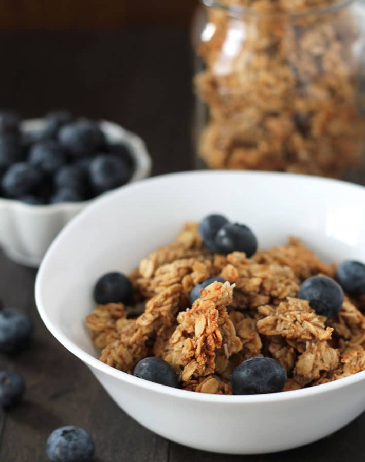 A bowl of nut free granola with fresh blueberries on top.