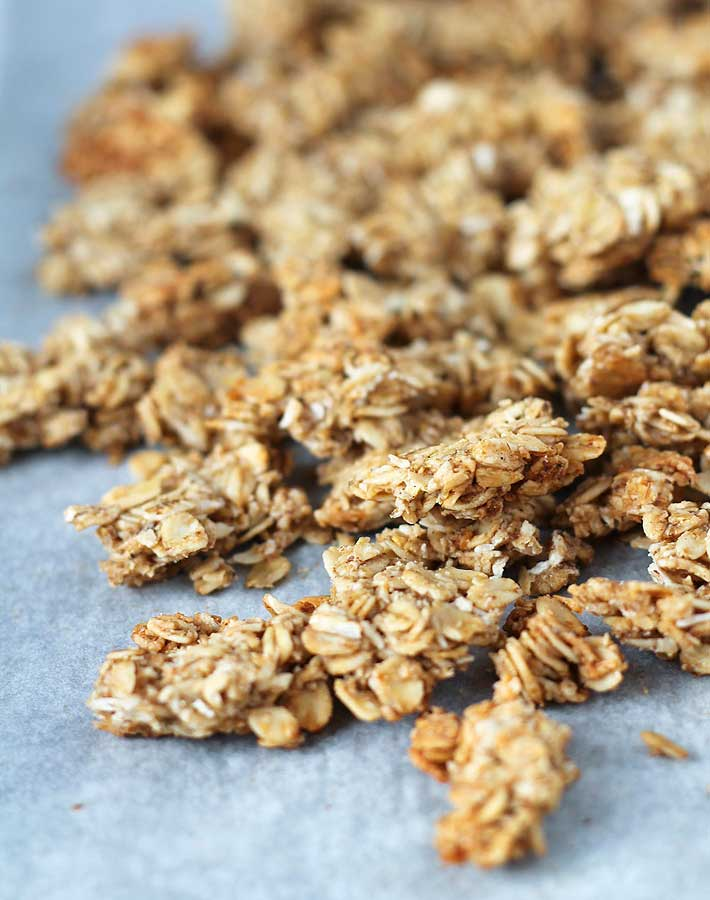 Close up shot of nut free granola clusters.