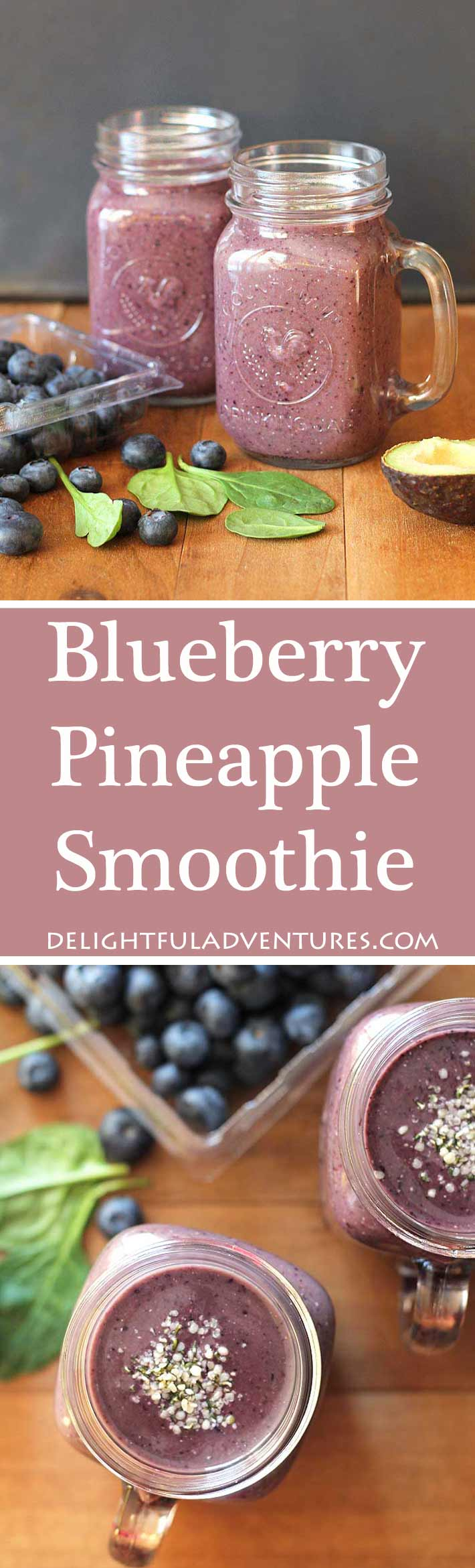 A refreshing and healthy way to start your day is with a blueberry pineapple smoothie. It's loaded with fruits, vegetables, and it tastes delicious!