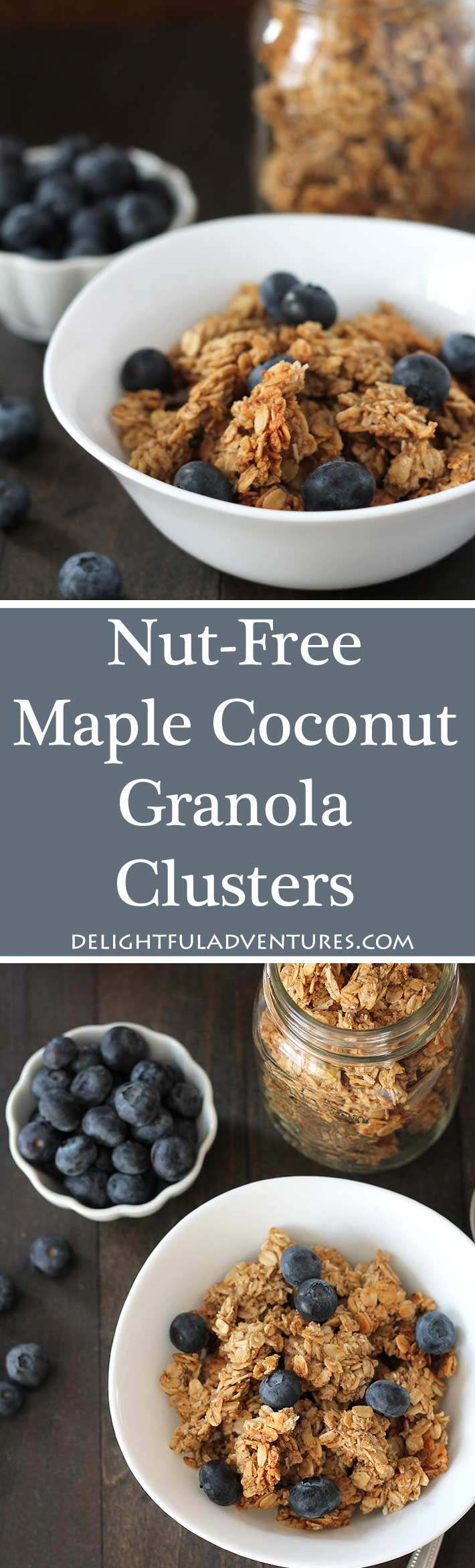 Delicious nut free maple coconut granola clusters that are perfect to have for breakfast or for snacking on in the afternoon!