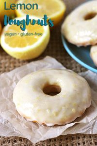 Your family and friends will be asking for more when you make them these sweet, tangy, gluten free, vegan baked lemon doughnuts with lemon glaze!
