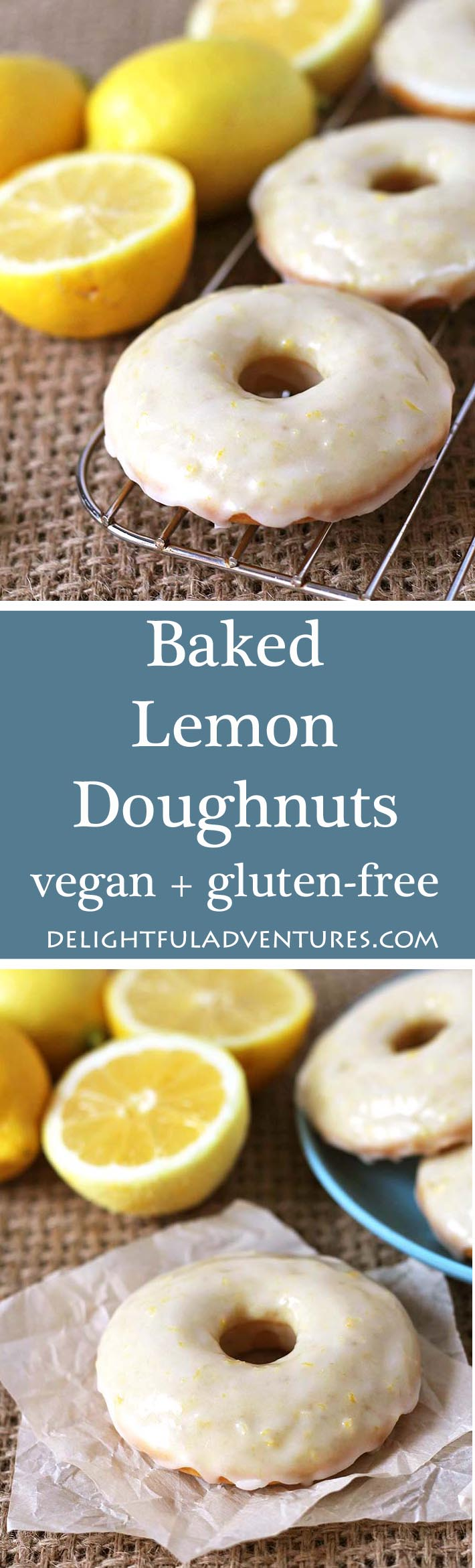 Family and friends will be asking for more when you make them these sweet, tangy, vegan baked lemon doughnuts with lemon glaze! Recipe contains a gluten free option!