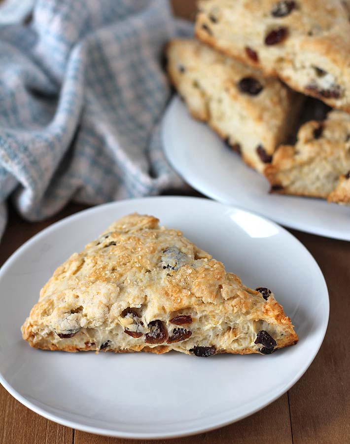 Coconut Raisin Vegan Scones sitting in the background on a plate with one sitting on its own up front and in focus.