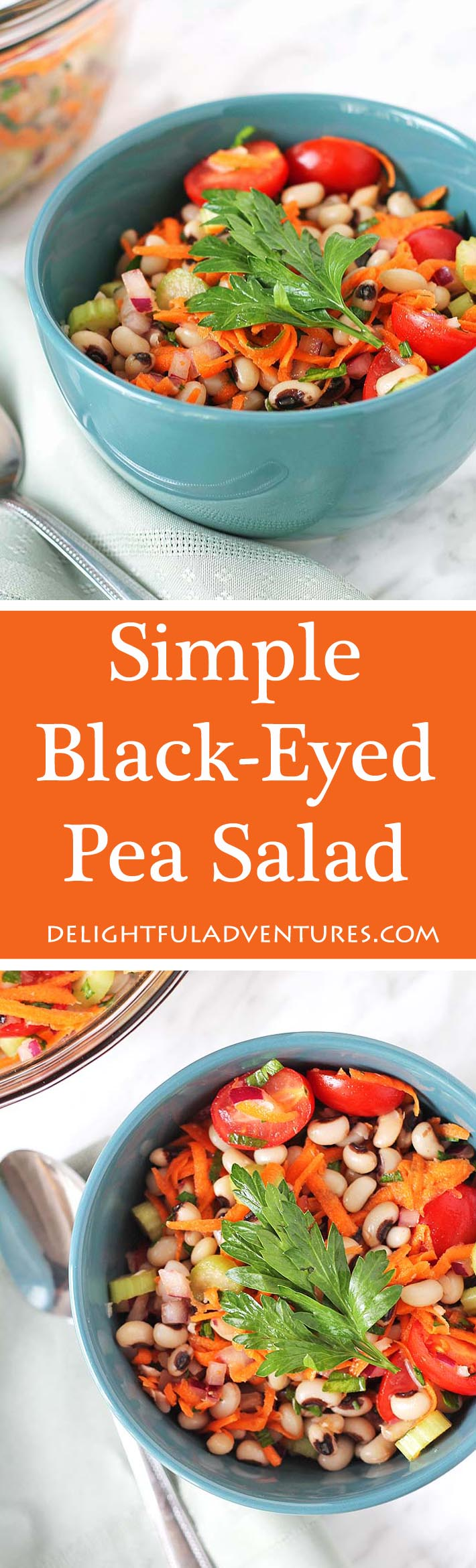 Perfect for lunch, a side dish, or even a light supper, you're going to love this Simple Black-Eyed Pea Salad because it's delicious and so easy to make. #blackeyedpeas #blackeyedpeassalad #beansalad