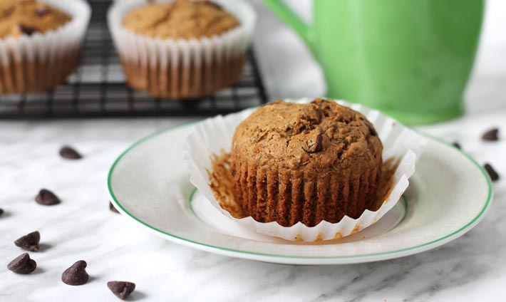 Vegan Gluten Free Zucchini Chocolate Chip Muffins sitting on a small plate.
