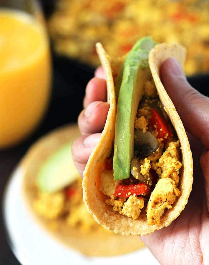 Southwest Tofu Scramble Breakfast Tacos being held.