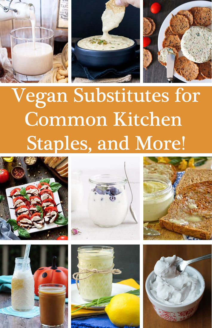 Looking for vegan substitutes for favourite non-vegan foods? This list is filled with recipes for old favourites like cheeses, spreads, bacon, and more! #vegansubstitutes #veganrecipes #vegan #veganstaples #delightfuladventures
