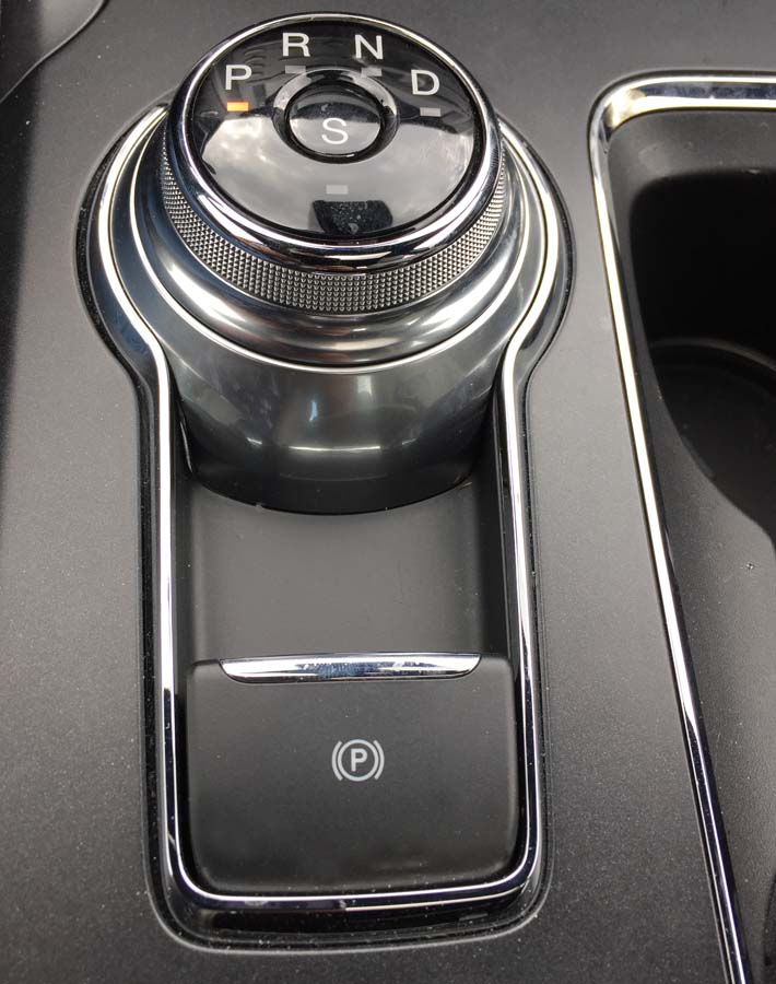 The rotary gear shift in the 2017 Ford Fusion Sport