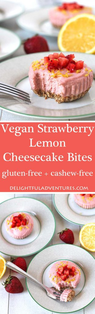 Not only are these no bake Vegan Lemon Strawberry Cheesecake Bites delicious, they're also gluten-free, dairy-free, cashew-free and super easy to make!