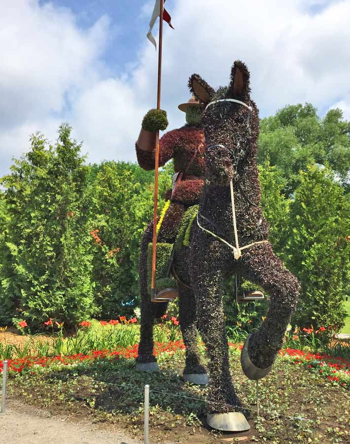 RCMP horse and rider sculpture at MosaïCanada - Family Fun in the Outaouais