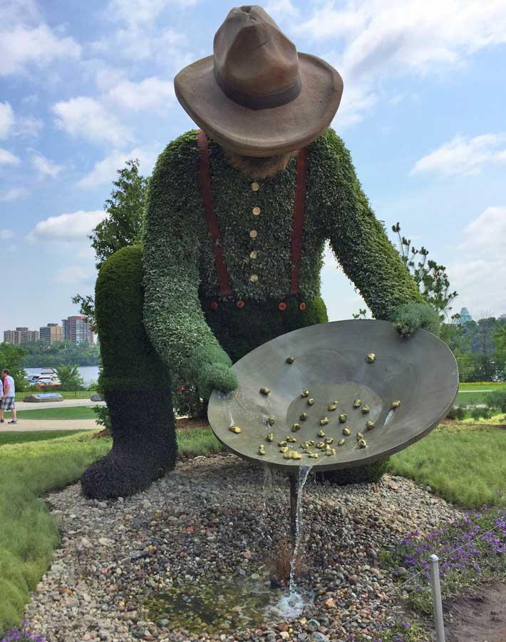 Prospector sculpture at MosaïCanada - Family Fun in the Outaouais