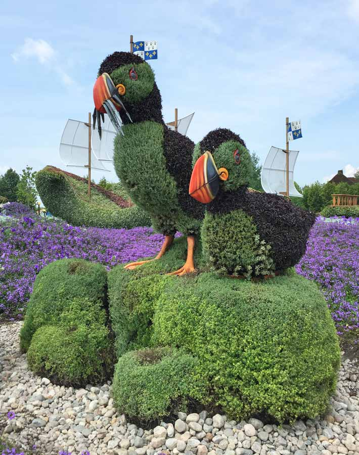 Puffins sculpture at MosaïCanada - Family Fun in the Outaouais