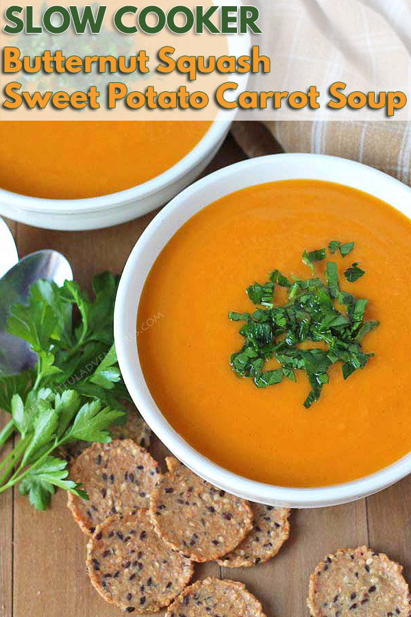 An easy recipe for slow cooker butternut squash soup that also has sweet potato and carrots. It also happens to be vegan and gluten-free! It's the perfect meal to have during fall or on a cold winter's day. #butternutsquashsoup #vegansoup #butternutsquash #veganglutenfree