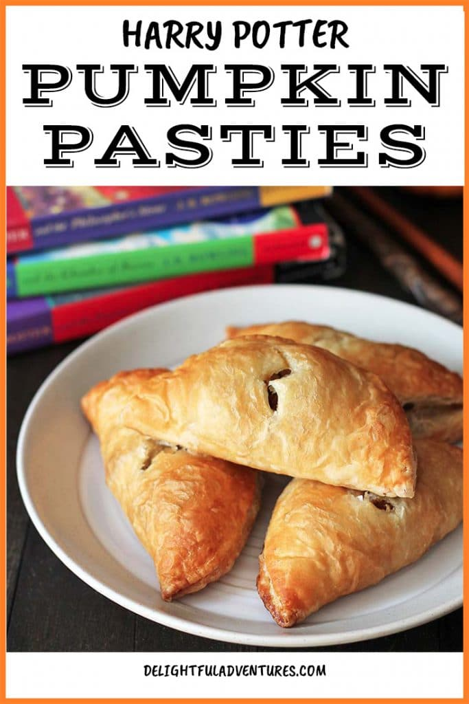 """Easy pumpkin pasties from the """"Harry Potter"""" series! These Hogwarts treats are perfect for themed birthday parties, for special snacks, or just because! This Harry Potter recipe is a take on the treat enjoyed by the characters in the books!"""