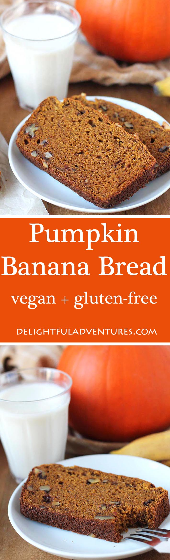 Can't decide between banana bread and pumpkin bread? Then make this Vegan Gluten Free Pumpkin Banana Bread which blends the flavours of both, perfectly. #vegan #veganglutenfree #pumpkinbread #bananabread #pumpkinbananabread