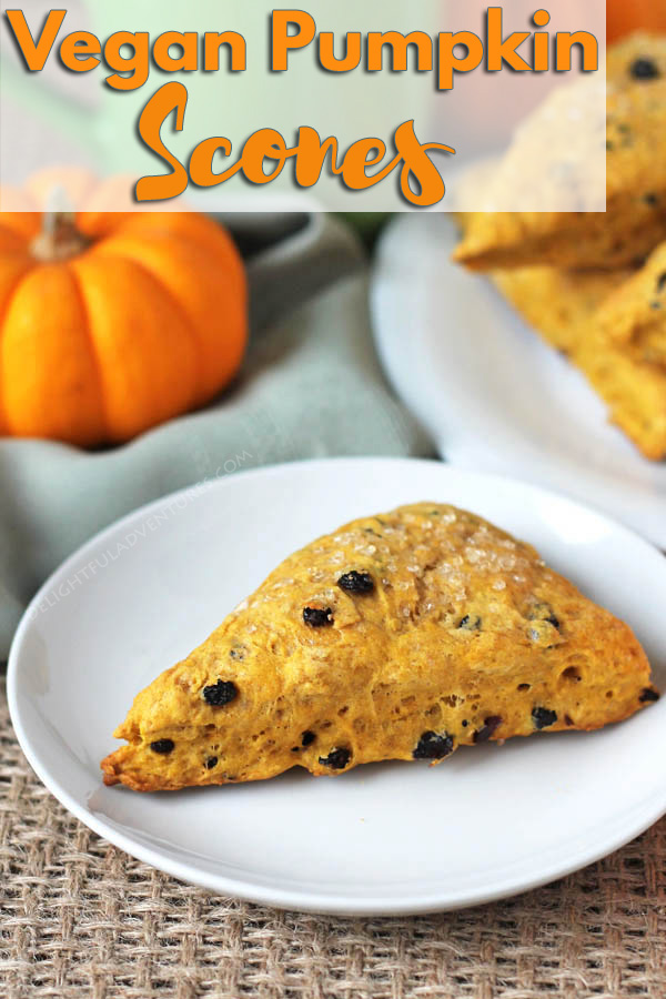 These perfectly spiced and not-too-sweet vegan pumpkin scones will become a new fall (or any time of year!) favourite. #veganscones #pumpkinscones #pumpkinspice #vegantreats, #vegandessert