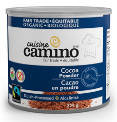 A can of Camino Dutch processed cocoa powder.